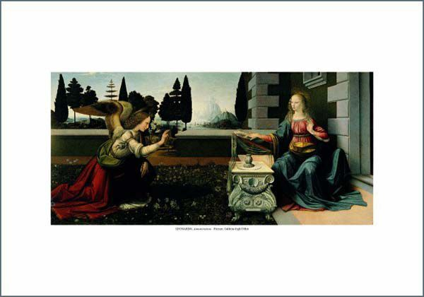 Picture of Annunciation, Leonardo - Uffizi Gallery, Florence - PRINT
