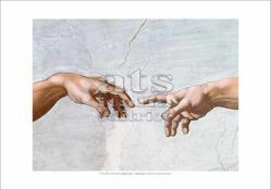 Picture of The Creation of Adam (Detail: Hand of God giving life to Adam) Michelangelo - Sistine Chapel - PRINT