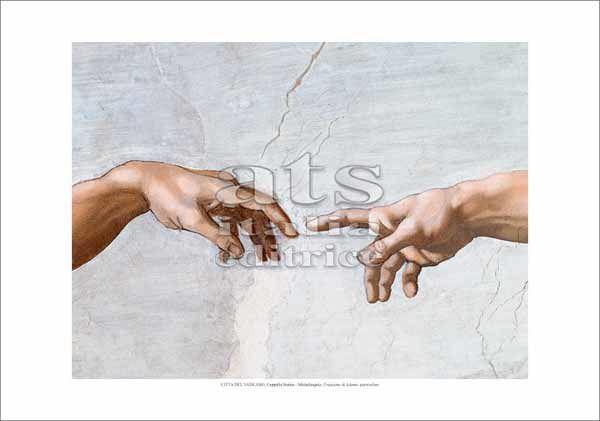 Immagine di Creazione di Adamo,-(particolare mani) Michelangelo - Cappella Sistina, Citta' del Vaticano - STAMPA