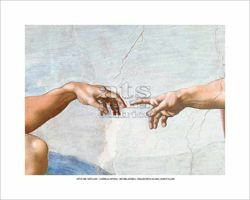 Picture of The creation of Adam (Detail: Hand of God giving life to Adam) Michelangelo - Sistine Chapel - POSTER