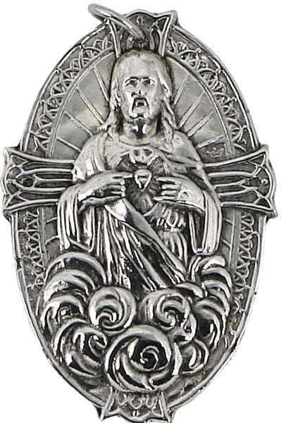 Immagine di Sacro Cuore di Gesù- Medaglia confraternita, bagno oro o argento (AMC392)