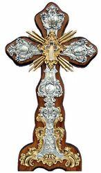Immagine di Croce reliquia Santa Croce, bagno argento, rifiniture in oro