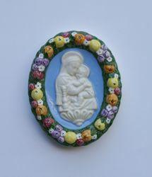 Imagen de Virgen de la Silla, óval - Terracota vidriada Robbiana