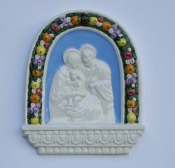Picture of Holy Family with Child, big - Glazed terracotta Robbiana