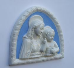 Picture of Madonna with Child in frame, big - Glazed terracotta Robbiana
