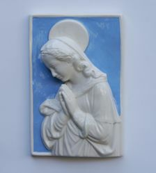 Picture of Madonna in blue rectangle, big - Glazed terracotta Robbiana