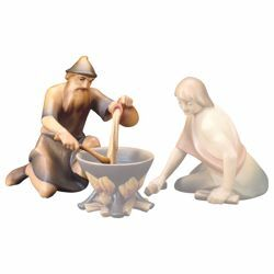 Picture of Old herder kneeling cooking(Saviour Nativity cm19 - 015)
