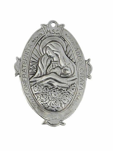 Immagine di Maria Addolorata - Medaglione confraternita, bagno oro o argento AMC 394