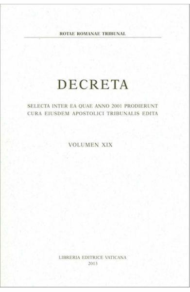 Picture of Decreta selecta inter ea quae anno 2001 prodierunt cura eiusdem Apostolici Tribunalis edita. Volumen XIX anno 2001