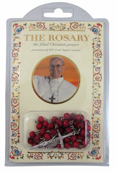 Picture of Pope Francis - The filial Christian prayer BOOK + ROSEWOOD ROSARY