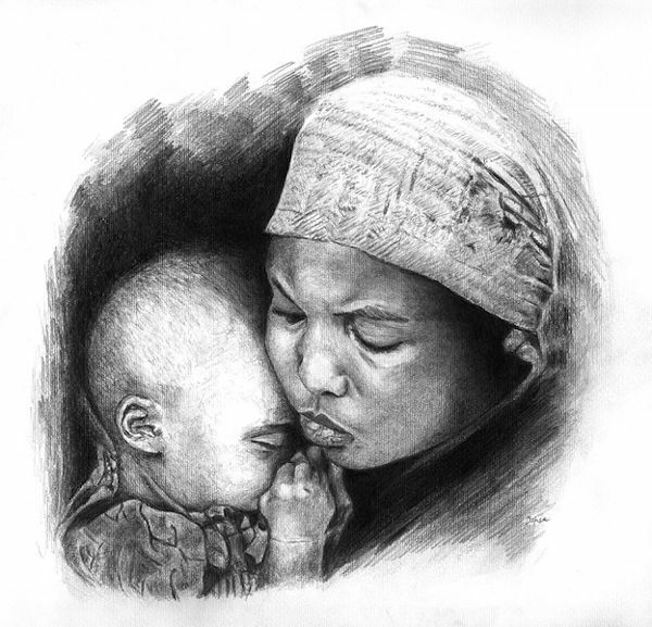 Picture of Mother with child (1)- DRAWING