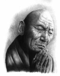 Picture of Buddist monk - DRAWING