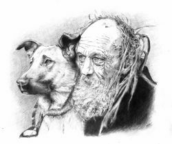 Picture of Old man with his dog - DRAWING