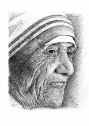 Picture of Portrait of Mother Teresa - DRAWING