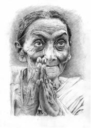 Picture of Indian woman praying - DRAWING