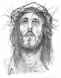 Picture of Jesus with crown of thorns - DRAWING