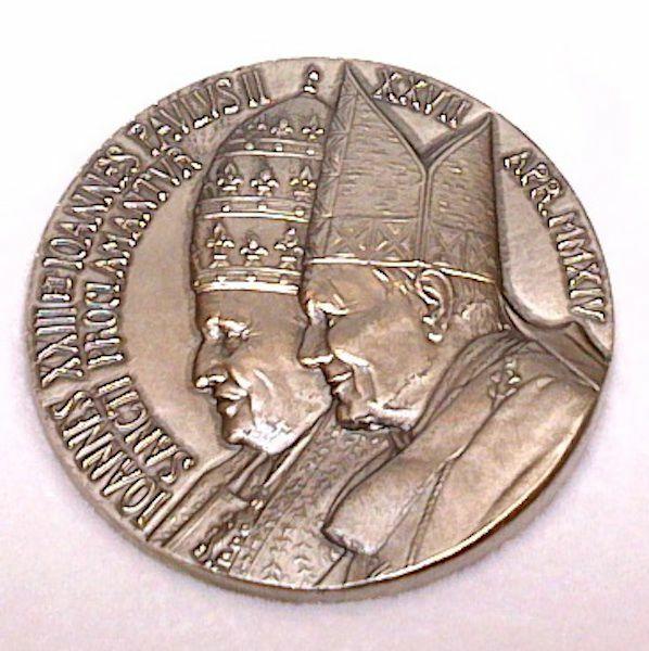 Immagine di Medaglia ufficiale canonizzazione Giovanni XXIII e Giovanni Paolo II - Argento