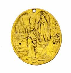 Picture of Lourdes - Gold or silver plated oval Confraternity Medal AMC 399