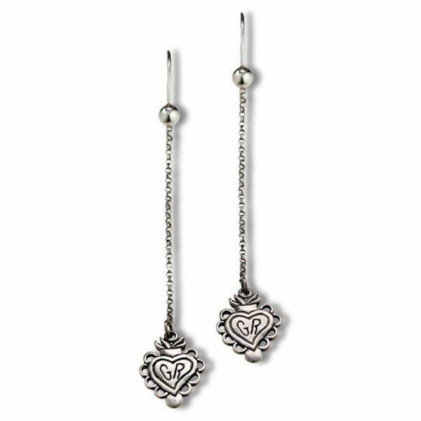 Immagine di Orecchini pendenti Grazia con cuore votivo in argento