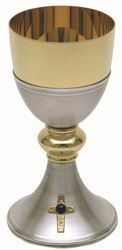Picture of Liturgical Chalice H. cm 17 (6,7 inch) Golden Cross Amethyst in brass Gold Silver for Holy Mass Altar Wine