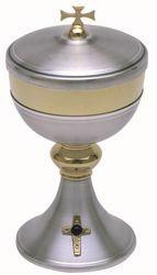 Picture of Liturgical Ciborium H. cm 19 (7,5 inch) Golden Cross Amethyst in brass Gold Silver
