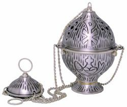 Picture of Thurible Boat 1 chain Chi Rho Grapes Loaves Fishes in brass Gold Silver Church liturgical Censer for Mass
