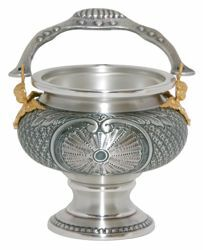 Picture of Holy Water Vat H. cm 13 (5,1 inch) Shell Decorations Angels chiseled brass Gold Silver blessed water Liturgical Aspersorium Bucket Pot