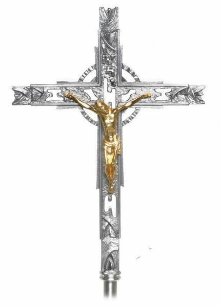 Processional Cross Cm 52x36 20 5x14 2 Inch Modern Style With Decorations In Brass Gold Silver Crucifix For Church Procession Vaticanum Com