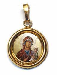 Immagine di Madonna con Bambino Ciondolo Pendente tondo Diam mm 19 (0,75 inch) Argento placcato Oro e Porcellana Unisex Uomo Donna
