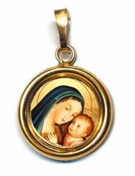 Picture of Our Lady of Good Counsel Gold plated Silver and Porcelain round Pendant Diam mm 19 (075 inch) Unisex Woman Man