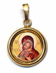 Picture of Our Lady of Vladimir Gold plated Silver and Porcelain round Pendant Diam mm 19 (075 inch) Unisex Woman Man