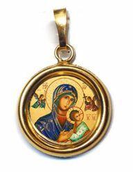 Imagen de Virgen del Perpetuo Socorro Medalla colgante redonda Diám mm 19 (0 75 inch) Plata con baño de oro y Porcelana Unisex Mujer Hombre