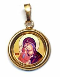 Picture of Our Lady of Tenderness Gold plated Silver and Porcelain round Pendant Diam mm 19 (075 inch) Unisex Woman Man