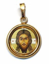 Picture of The Holy Face Gold plated Silver and Porcelain round Pendant Diam mm 19 (075 inch) Unisex Woman Man