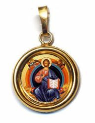 Picture of Christ on the throne Gold plated Silver and Porcelain round Pendant Diam mm 19 (075 inch) Unisex Woman Man