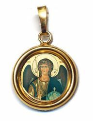 Picture of Archangel Michael Gold plated Silver and Porcelain round Pendant Diam mm 19 (075 inch) Unisex Woman Man and Kids
