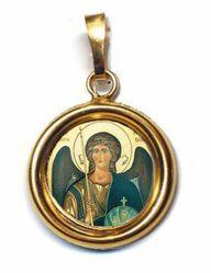 Immagine di Arcangelo Michele Ciondolo Pendente tondo Diam mm 19 (0,75 inch) Argento placcato Oro e Porcellana Unisex Uomo Donna e Bambini