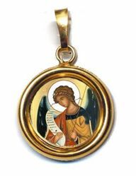 Picture of Archangel Gabriel Gold plated Silver and Porcelain round Pendant Diam mm 19 (075 inch) Unisex Woman Man and Kids