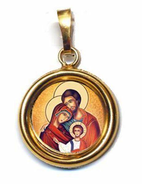 Imagen de Sagrada Familia Medalla colgante redonda Diám mm 19 (0 75 inch) Plata con baño de oro y Porcelana Unisex Mujer Hombre