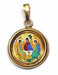 Immagine di Trinità Ciondolo Pendente tondo Diam mm 19 (0,75 inch) Argento placcato Oro e Porcellana Unisex Uomo Donna
