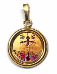 Picture of Crucifixion Gold plated Silver and Porcelain round Pendant Diam mm 19 (075 inch) Unisex Woman Man