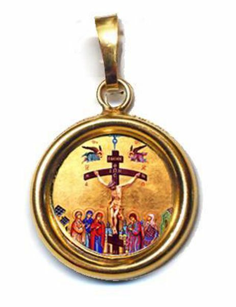 Imagen de Crucifixión Medalla colgante redonda Diám mm 19 (0 75 inch) Plata con baño de oro y Porcelana Unisex Mujer Hombre