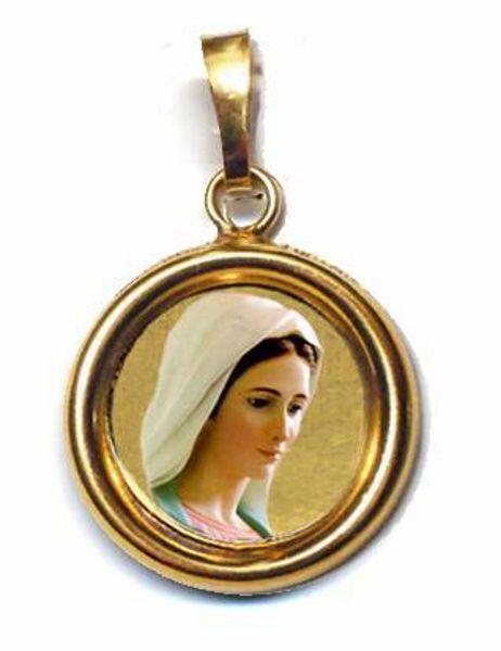 Immagine di Madonna di Medjugorje Ciondolo Pendente tondo Diam mm 19 (0,75 inch) Argento placcato Oro e Porcellana Unisex Uomo Donna