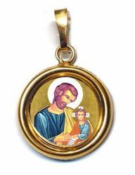 Immagine di San Giuseppe Ciondolo Pendente tondo Diam mm 19 (0,75 inch) Argento placcato Oro e Porcellana Unisex Uomo Donna