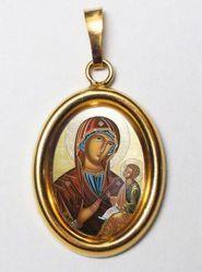 Imagen de Virgen con Niño Medalla Colgante oval mm 19x24 (0,75x0,95 inch) Plata con baño de oro y Porcelana Unisex Mujer Hombre
