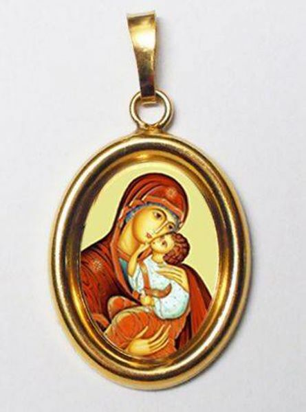 Picture of Madonna of the Incarnation Gold plated Silver and Porcelain oval Pendant mm 19x24 (0,75x0,95 inch) Unisex Woman Man