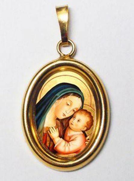 Imagen de Nuestra Señora del Buen Consejo Medalla Colgante oval mm 19x24 (0,75x0,95 inch) Plata con baño de oro y Porcelana redonda Unisex Mujer Hombre