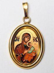 Imagen de Virgen del Perpetuo Socorro Medalla Colgante oval mm 19x24 (0,75x0,95 inch) Plata con baño de oro y Porcelana Unisex Mujer Hombre