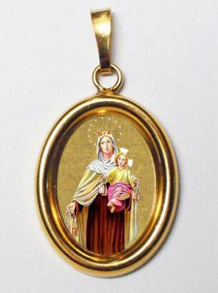 Picture of Our Lady of Carmel Gold plated Silver and Porcelain oval Pendant mm 19x24 (0,75x0,95 inch) Unisex Woman Man