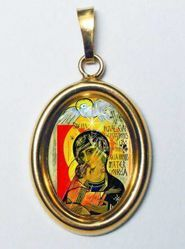 Picture of Madonna with Child Gold plated Silver and Porcelain oval Pendant mm 19x24 (0,75x0,95 inch) Unisex Woman Man